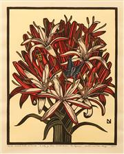 Sale 8606 - Lot 520 - Leslie V. Van Der Sluys (1939 - 2010) - A Lily of New South Wales: The Gymea, 1985 42 x 32.5cm