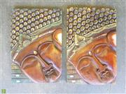 Sale 8601 - Lot 1093 - Pair of Timber Buddha Plaques