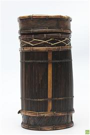 Sale 8694 - Lot 45 - Asian Bamboo And Rattan Container With Lid