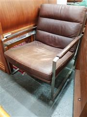 Sale 8688 - Lot 1058 - Leather Republic Upholstered Chrome Chair