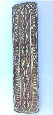 Sale 8706A - Lot 93 - A png papua new guinea sepik river war shield, carved from solid piece, upper sepik region, general wear, marks, H 197 x W 48cm