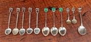 Sale 8838H - Lot 41 - Five silver coffee spoons with elephant finials together with three jade finials initialled 'LVH Sterling' one emu topped example 'B...