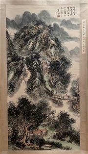 Sale 8980S - Lot 633 - Chinese Landscape Scroll, Ink and Colour on Paper