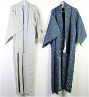 Sale 8963 - Lot 97 - Two Vintage Kinomos in dark blue and grey with swirling water patterns