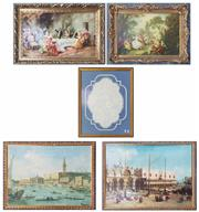 Sale 9004 - Lot 2045 - Group of Old Master Decorative Prints incl. Canaletto and French Rococo Salon Scenes