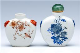 Sale 9098 - Lot 457 - Two Chinese floral and bird themed porcelain snuff bottles, Character marks to base