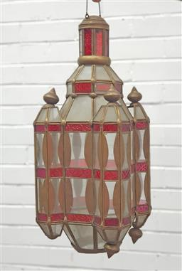 Sale 9134 - Lot 1492 - Moroccan glass hanging light fitting (62cm)