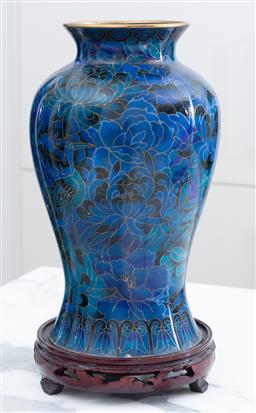 Sale 9150H - Lot 31 - A bulbous blue cloisonne vase featuring lotus flowers, birds and butterflies on timber stand, total Height 29cm