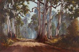 Sale 9178 - Lot 592 - KEVIN BEST (1932 - 2012) Back Road to Gulgoa oil on canvas board 59.5 x 90 cm (frame: 80 x 110 x 5 cm) signed lower right