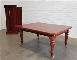 Sale 9179 - Lot 1076 - Good Victorian Mahogany Extension Dining Table TOGETHER with a leaf stand, having three leaves, the top with rounded corners, raised...