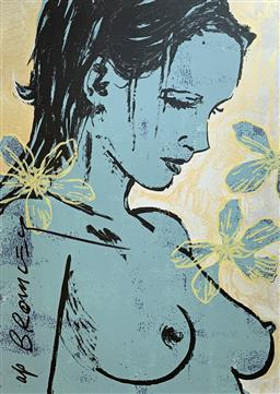 Sale 9214A - Lot 5031 - DAVID BROMLEY (1960 - ) Romy with Flowers screenprint ed. A/P (unframed) 112 x 77.5 cm signed lower left