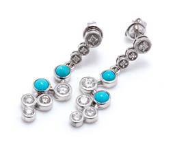 Sale 9253J - Lot 443 - A PAIR OF 18CT WHITE GOLD TURQUOISE AND DIAMOND EARRINGS; each a drop of 2 collet set turquoise and 4 round brilliant cut diamonds t...