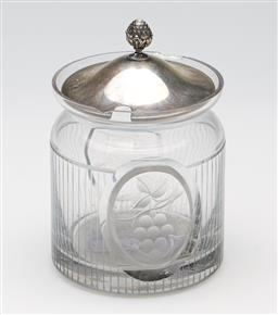 Sale 9253 - Lot 359 - An etched glass grape themed sugar with a sterling silver lid with artichoke finial (H:13cm) - chip to rim