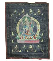Sale 8162 - Lot 88 - Tibetan White Tara Thangka Painted with Gold and Black Background