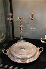 Sale 8296 - Lot 90 - Large Silver Plated Entrée Dish & Candelabra