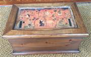 Sale 8310A - Lot 281 - A timber box decorated with artisanal scenes, 19 x 38 x 25cm