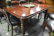 Sale 8359 - Lot 1089 - A Victorian Style Mahogany Extension Dining Table with 2 Leaves on turned reeded legs (winder in office, H:76cm W: 117, L: 146 + 2 l...