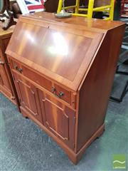 Sale 8455 - Lot 1054 - A Georgian style yew wood bureau fitted with a drawer and two panelled doors, H 100 x W 76 x D 42cm