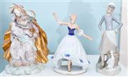 Sale 8470H - Lot 352 - Three figurines including Lladro girl with a goose, a Wallendorf dancing lady, and an Italian Madonna and child, damage to fingers
