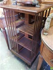 Sale 8559 - Lot 1100 - Edwardian Oak Revolving Bookcase, of three tiers & with brass dedication plaque