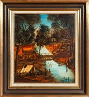 Sale 8562A - Lot 78 - Kevin Charles Pro Hart - Mining Scene 49 x 43cm