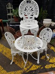 Sale 8740 - Lot 1238 - Alloy Metal Four Piece Garden Setting incl. Table & Three Chairs