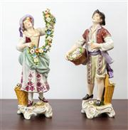 Sale 8774A - Lot 142 - A pair of Dresden flower sellers in traditional dress