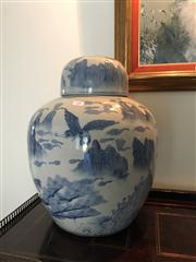 Sale 8815A - Lot 14 - A large Chinese ginger jar in blue and white decorated with egrets amongst a mountainous landscape, H 45cm