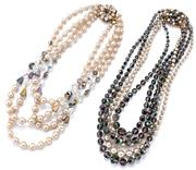 Sale 9101 - Lot 2100A - TWO VINTAGE GRADUATED MULTISTRAND CRYSTAL AND FAUX PEARL NECKLACES; 5 x 4.5-11.5mm and 4 x 6- 10mm faceted crystals and faux pearls...