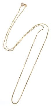 Sale 9074 - Lot 319 - A 14CT GOLD BOX CHAIN; with bolt ring clasp, length 61cm, wt. 6.23g.