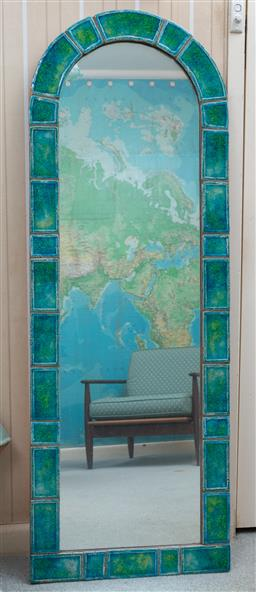 Sale 9164H - Lot 100 - An arch topped tile framed mirror, Height 136cm x Width 48cm, some minor repairs