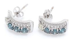 Sale 9246J - Lot 341 - A PAIR OF 9CT WHITE GOLD DIAMOND EARRINGS; half hoops each centring a row of 3 treated blue and 1 white  round brilliant cut diamond...