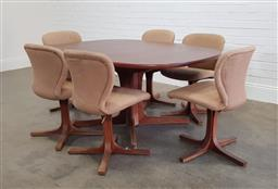 Sale 9174 - Lot 1146 - Vintage seven piece dining setting incl. six Warren Catt chairs & Chiswell extension table (h:72 x w:153 x d:111cm)