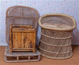 Sale 9191W - Lot 706 - A wicker stool together with a folding wicker chair and jardinere stand (Height of stool 40cm)