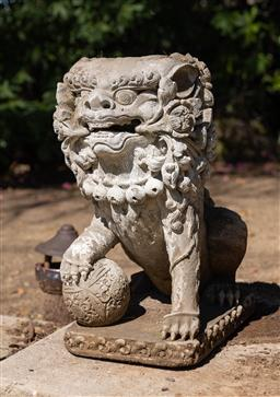 Sale 9248H - Lot 299 - Hand carved stone temple lion showing considerable age length 52 x height 60 x width 30cm