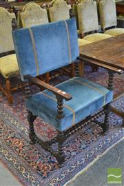Sale 8255 - Lot 1055 - Pair of Louis XIV Walnut Armchairs, with wide blue velvet seats & backs, on turned legs with stretchers, provenance Sothebys. The E...