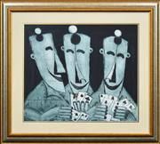 Sale 8347A - Lot 99 - Kevin Charles (Pro) Hart (1928 - 2006) - Untitled (Card Players) 48 x 58cm