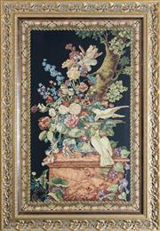 Sale 8338A - Lot 9 - A French tapestry of a floral still life with doves, monogrammed RGH, 108 x 69cm