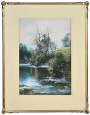 Sale 8394 - Lot 595 - William Joseph Wadham (1864 - 1950) - Pastoral River 42.5 x 28cm