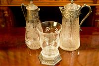 Sale 8392H - Lot 102 - Two EP and crystal decanters together with an etched glass vase and stand