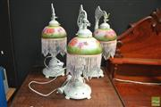 Sale 8431 - Lot 1019 - Set of 3 Glass Shade Table Lamps
