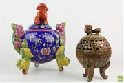 Sale 8560 - Lot 52 - Chinese Foo Dog Censor with Another Stone Censor