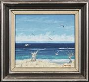 Sale 8716 - Lot 2045 - Kevin Jopson (1929 - ) - Coastal Scene 19 x 21.5cm