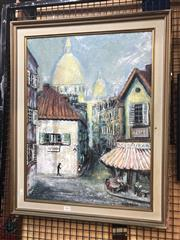 Sale 8845 - Lot 2076 - Hans Selke - Town Scene oil on board, 74 x 59c (frame), signed lower