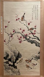 Sale 8980S - Lot 602 - Chinese Birds and Plum Blossoms Scroll, Ink and Colour on Paper