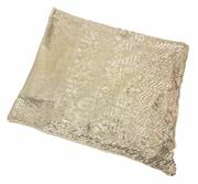 Sale 9037 - Lot 363 - AN EGYPTIAN ART DECO ASSUIT SILVER TONE SHAWL; cream cotton net applied with silver on copper geometric pattern to rolled edges, siz...