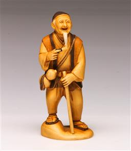 Sale 9122 - Lot 138 - Chinese Carved Ivory Figure of a Elderly Gentelman - Marked to base (H:14cm)