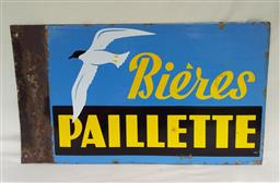 Sale 9142A - Lot 5023 - French mid-century advertising enamel sign for BIERE PAILLETTE (double sided, with same design on both sides), 34 x 58 cm