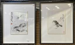 Sale 9135 - Lot 2091 - Pair of Chinese ink paintings representing Crayfish and a Quail in modern frames 60 x 49cm, each -
