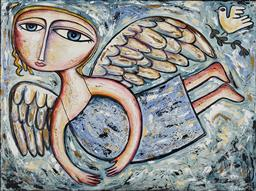 Sale 9170A - Lot 5033 - NIGEL GILLINGS Angel & Dove acrylic on canvas 76 x 104 cm signed lower right